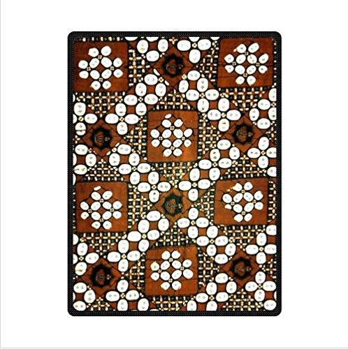 Brown Batik Floral Fabric Design Custom Fleece Blanket 58 X 80 (Large)