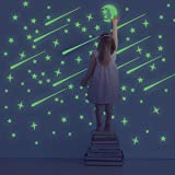216 PCS Glow in Dark Stars and Moon, Glowing Stars for Ceiling and Wall Decals, Perfect for Kids Bedding Room or Party Birthday Gift (Color: Glow in dark stars)
