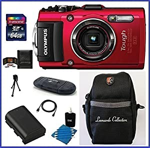 Olympus Stylus TOUGH TG-4 Digital Camera (Red) Pro Bundle includes; 64GB SDXC Class 10 Memory Card, Card Reader, Case and more...