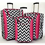 3pc Luggage Set Travel Bag Rolling Wheel Carryon Expandable Upright Chevron Pink