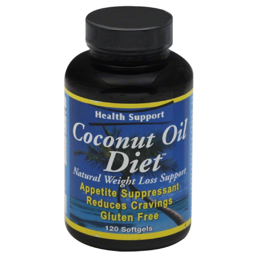 Coconut Oil By Health Support - 120 Softgels, 6 pack tropicana cold press coconut oil 100