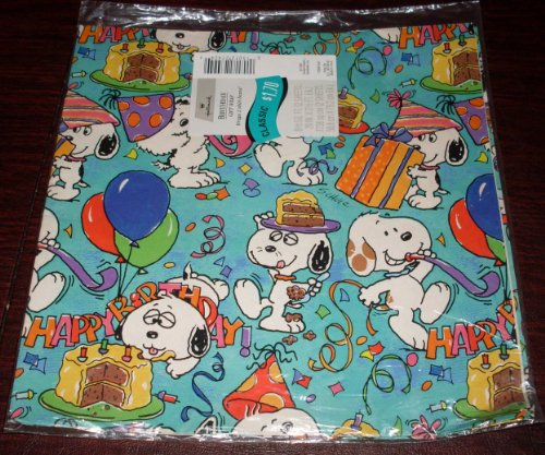 RARE! Hallmark Vintage Peanuts Snoopy & Daisy Hill Puppies - Package Birthday Gift Wrap, Wrapping Paper - Snoopy, Marbles, Spike, Andy, Olaf