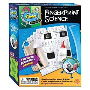 POOF-Slinky 02011 Slinky Science Fingerprint Science Mini Lab Kit with Dusting Powder and Magnifying Glass, 5-Activities by Slinky Science TOY (English Manual)