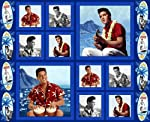 "Blue Hawaii ELVIS PRESLEY Fabric Panel (Great for Sewing, Crafting, Quilting, Wall Hanging or Throw Pillows) 35"" x 44"" Wide"