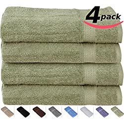 Cotton-Hand-Towels Gym-Towels SPA-Towels Sage-Green 4-Pack - (16 inches x 28 inches) Ringspun Cotton for Maximum Softness and Absorbency, Easy Care - By Utopia Towels