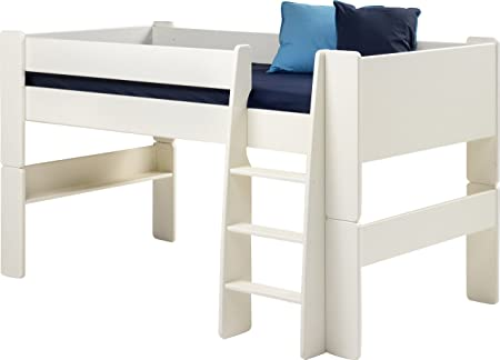 Steens Kids Mid-Sleeper Frame Bed with Ladder, White