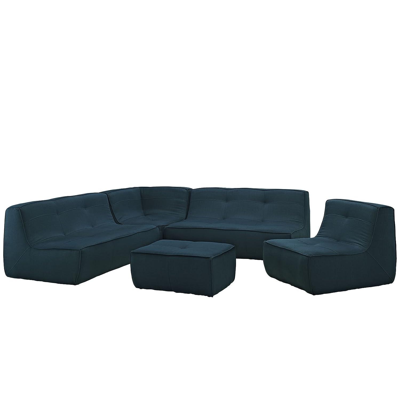 Modway Align 5 Piece Upholstered Sectional Sofa Set EEI-1015-AZU-SET