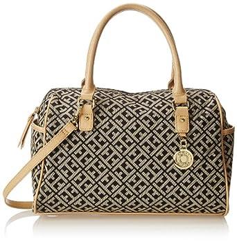 Tommy Hilfiger Tommy Club Satchel Jacquard Top Handle Bag,Black/Cream,One Size