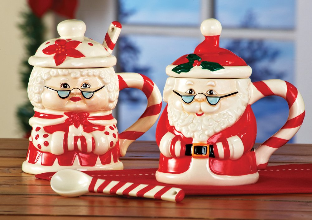 Santa And Mrs. Claus Mug Set With Lids W/ Candy Cane Spoons