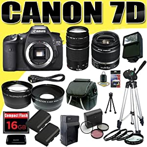 Canon EOS 7D 18 MP CMOS Digital SLR Camera w/ Canon EF-S 18-55mm f/3.5-5.6 IS Lens & Canon EF 75-300mm f/4-5.6 III Telephoto Zoom Lens LPE6 Battery/Charger Wide Angle / Telephoto Lenses Filter Kit 16GB Tripod HDMI DavisMAX Bundle