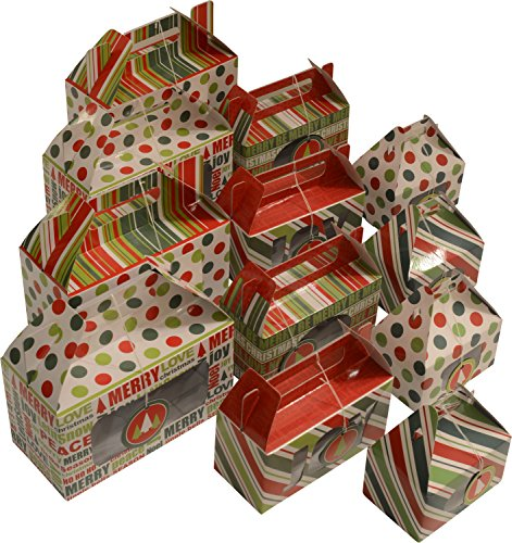 Cookie gift boxes / munchkin boxes kit, foldable with gift tags, assorted sizes and designs, 12 boxes (Christmas 1)