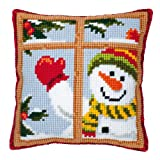 Vervaco Snowman Looking Out Window Cross Stitch Cushion Multi Colour
