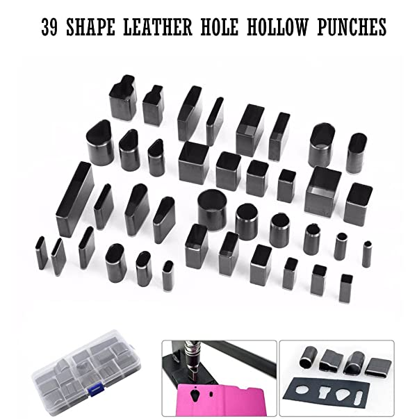 Leather Punch Cutter Set,Fashionclubs 39 Shape Leather Craft DIY Hole Hollow Steel Cutter Punch Tool Kit For Handmade,Polymer Clay Jewelry DIY Tool,with Plastic Storage Case (Color: Black)