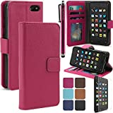 LK Amazon Fire Phone Wallet PU Leather Case Flip Cover Built-in Card Slots & Stand with Free Screen Protector & Stylus (Hot Pink) by Leather Factory Outlet