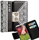 myLife Classy Black and Vanilla White Lace Bow Series {Fancy Design} Faux Leather (Multipurpose - Card, Cash and ID Holder + Magnetic Closing) Folio Slimfold Wallet for the LG G2 Smartphone (External Textured Synthetic Leather with Magnetic Clip + Internal Secure Snap In Closure Hard Rubberized Bumper Holder)