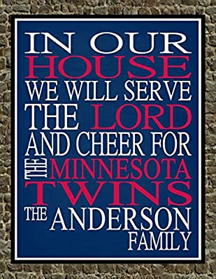 In Our House We Will Serve The Lord And Cheer for The Minnesota Twins Personalized Family Name Christian Print - Perfect Gift, baseball sports wall art - multiple sizes