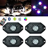 Amak CREE RGB LED Rock Light Kits Neon Lights Bluetooth Control & Cell Phone Control Under Cars Off Road Truck SUV ATV 4x4WD For Jeep Vehicle Boat Interior with Timing & Music Mode