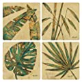 "CoasterStone AS1245 Absorbent Coasters, 4-1/4-Inch, ""Palm Leaves"", Set of 4"