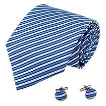 A1195 Blue Stripes Cufflink Silk Box Set Groomsman Gift Gift Man 2PT By Y&G
