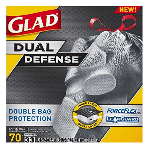 Glad ForceFlex Extra Strong Extra Large Resistant Drawstring 33 Gallon, 70 Count Trash Garbage Bags (Divided Garbage Can compare prices)