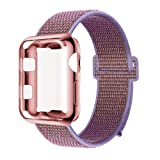 GBPOOT Compatible for Apple Watch Band 40mm with Screen Protector Case,Soft Nylon Sport Loop Replacement Wristband with Protective Case Compatible for Apple Watch Iwatch Series 4-Lilac (Color: Lilac Loop with Rose Gold case, Tamaño: Series4 40mm)