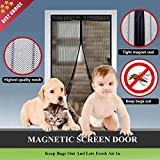 AIKELIDA Magnetic Screen Door - Full Frame Velcro, Keeps Bugs & Mosquitoes Out, Heavy Duty Mesh Curtain - Fits Doors Up to 34