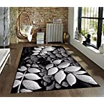 Gray White Black 52x72 Area Rug Leaves Carpet Large New