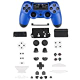 XFUNY PS4 Gamepad Skin Part Replacement Front Back Controller Shell Polished Glossy Cover Case Protective for Sony PlayStation 4 Game Controllers (Blue) (Color: Blue)
