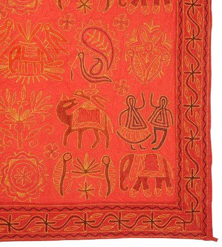 Imagen 3 de Algodón indio Tapiz de pared colgante con Zari y tamaño del bordado tradicional de trabajo 54 x 33 pulgadas