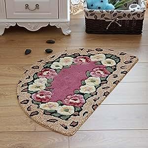 Ustide Rose Flowers Area Carpet Floral Shaped Design Kitchen Rug Haft Round Durable
