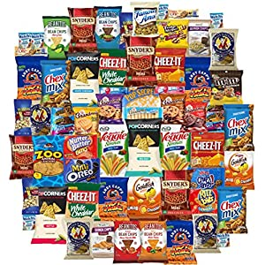 Ultimate Snacks Chips Cookies Candy Variety Assortment Pack Bulk Sampler Care Package (65 Count)
