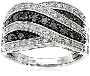 Sterling Silver Black and White Diamond Ring (1/2 cttw, ), Size 8