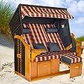 Strandkorb BALTIC-R BUB XXL, anthrazit, rot-natur karierter Bezug, fertig montiert von LILIMO