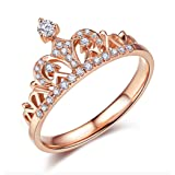 ACEFEEL Rose Gold Plated Cubic Zirconia Crown Tiara Promise Wedding Ring for Her Size 6.5