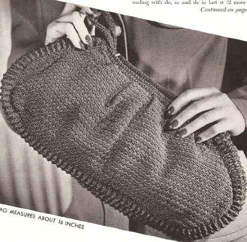 Vintage Crochet PATTERN to make - Clutch Bag Purse Handbag 1940s Retro ...