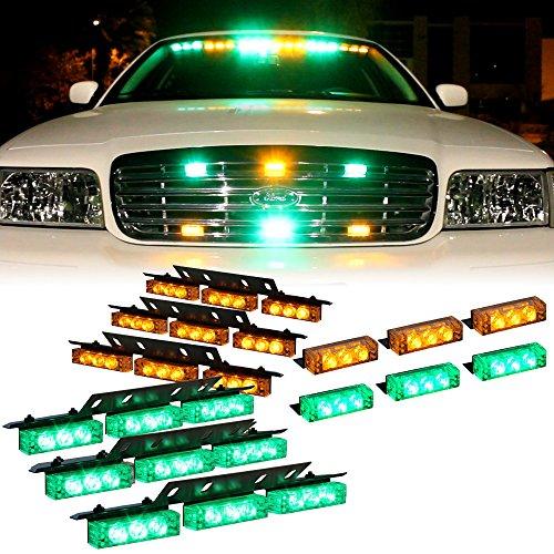 Amber Green 54X Led Volunteer Emt Vehicle Deck Dash Grill Strobe Lights - 1 Set