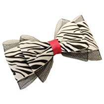Hair Bows  Double Layered Zebra & Mesh Hair Bow  Assorted Colors
