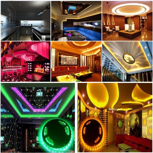 Happy Hours® Non-Waterproof 30 Led/M Rgb Color Changing Smd 5050 High Density Led Light Strip Lamp Kit Ideal For Chrismas, Party, Indoor/ Outdoor Decoration + 44 Key Remote Controller + 12 Volt Power Supply Pack Of 9 Meters