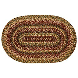 New IHF Home Decor Braided Oval Rug Area Carpet 27 Inch by 48 Inch New Plantation Design Jute Fabric