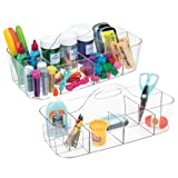 mDesign Plastic Portable Craft Storage Organizer Caddy Tote, Divided Basket Bin for Craft, Sewing, Art Supplies - Holds Paint Brushes, Colored Pencils, Stickers, Glue - Extra Large, 2 Pack - Clear (Color: Clear)