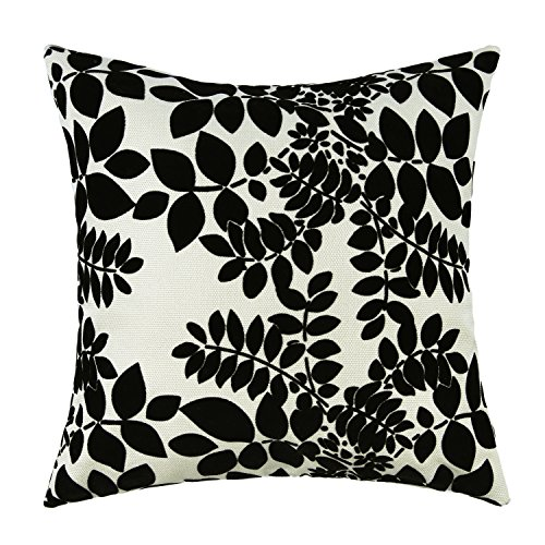 "Euphoria Contempo Home Decorative Throw Pillow Cushion Cover Pillowcase Shell Black Cute Flocked Leaves Striped Reverse Ivory Ground Color 18"" X 18"" front-582579"