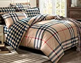 Luk Oil Home Textile,Classical Plaid and Stripes British Style Double Size Cotton Bedding Set Fashion Brief Male Duvet Covers Modern Bed Sheets Queen Size, 4Pcs