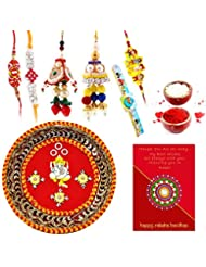 Ethnic Rakhi Fashionable And Stylish Rajasthani Colorful Floral Pattern Mauli Thread And Beads Rakhi And Traditional... - B01IIMCUBS