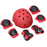 7PCS 4-14 Years Old Children Safety Protection Gear Safeguard Helmet Knee Pads Elbow Pads Wrister Bracers Support Protective Kit For Child Roller Skating Sports Ice Outdoor (Red) (Color: Red)