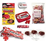 Deluxe Bacon Candy Sampler Gift Pack (6pc Set) - Bacon Mints, Jelly Beans, Gumballs, Lollipops, Salt Water Taffy & Sizzling Rock Candies + Silicone Wristband