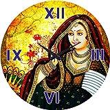 MeSleep Rajasthani Girl Wall Clock With Glass Top