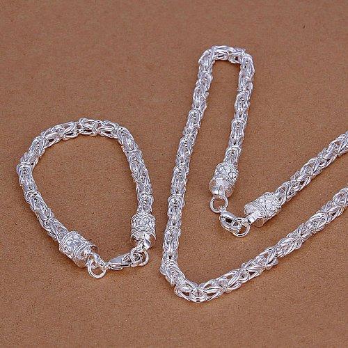 DUMAN Fashion Jewelry Silver Plated Jewelry Sets Dragon Bracelet Necklace