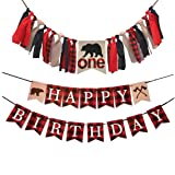 MaxFor Lumberjack First Birthday Party Supplies Decorations,Buffalo Plaid Camping Wild Bear 1st Birthday Party High Chair Banner,Baby Boy Photo Photo Booth Props