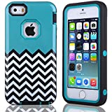 Case for iPhone 5S 5, ULAK Cover for iPhone 5S 5 5G Fashion Chevron Wave Pattern Hybrid Case inner Hard PC & Soft TPU Combo Cover (Blue)