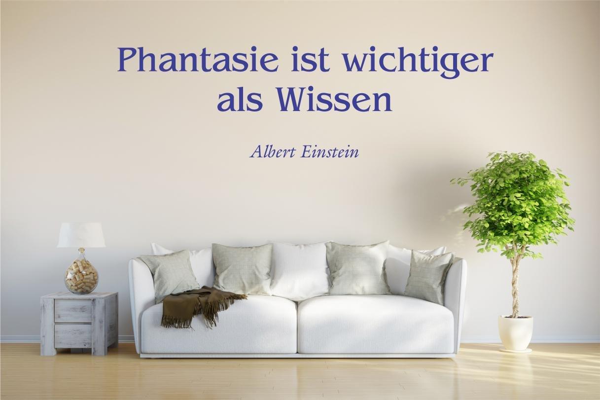 WANDTATTOO w011 XXLGröße 240 x70 cm Spruch Albert Einstein Phantasie ist wichtiger als Wissen, blau   Kundenbewertung und Beschreibung